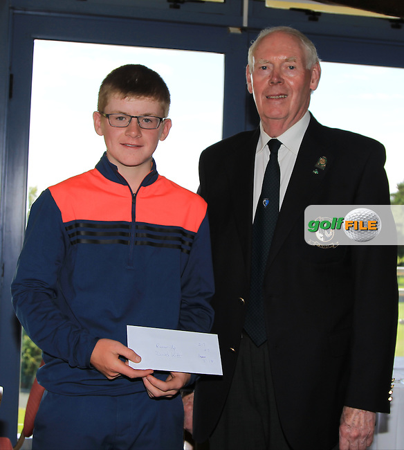 Jim McGovern (Chairman Connacht branch G.U.I) presents David Kitt (Athenry) with his prize during the Award ceremony of the 2016 Connacht U18 Boys Open, played at Galway Golf Club, Galway, Galway, Ireland. 07/07/2016. <br /> Picture: Thos Caffrey | Golffile<br /> <br /> All photos usage must carry mandatory copyright credit   (&copy; Golffile | Thos Caffrey)