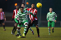 Steven Sylvester of Waltham Abbey and Theo Fairweather-Johnson of Hornchurch during AFC Hornchurch vs Waltham Abbey, Bostik League Division 1 North Football at Hornchurch Stadium on 13th January 2018