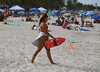 FORT LAUDERDALE, FL - JUNE 28: A Lifeguard is seen on Fort Lauderdale Beach as South Florida beaches are to close for July Fourth weekend, Florida reports another record spike in coronavirus cases, Floridaís Covid-19 surge shows the state's reopening plan is not working on June 28, 2020 in Fort Lauderdale Beach, Florida. Credit: mpi04/MediaPunch