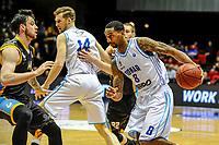 GRONINGEN - Basketbal, Donar - Den Helder Suns, Dutch Basketbal League, seizoen 2018-2019, 20-04-2019, Donar speler Jason Dourisseau met Den Helder speler Steve Harris