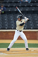 Michael Turconi (6) of the Wake Forest Demon Deacons at bat against the Notre Dame Fighting Irish at David F. Couch Ballpark on March 10, 2019 in  Winston-Salem, North Carolina. The Demon Deacons defeated the Fighting Irish 7-4 in game one of a double-header.  (Brian Westerholt/Four Seam Images)