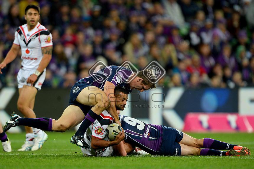 Jayson Bukuya  (NZ) <br /> NZ Warriors vs Melbourne Storm<br /> ANZAC day clash - AAMI Park<br /> Rugby League - 2014 NRL <br /> Melbourne AUS Friday 25 April  2014<br /> &copy; Sport the library / Jeff Crow