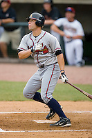 Riaan Spanjer-Furstenburg #30 of the Danville Braves follows through on a home run swing at Pioneer Park June 28, 2009 in Greeneville, Tennessee. (Photo by Brian Westerholt / Four Seam Images)