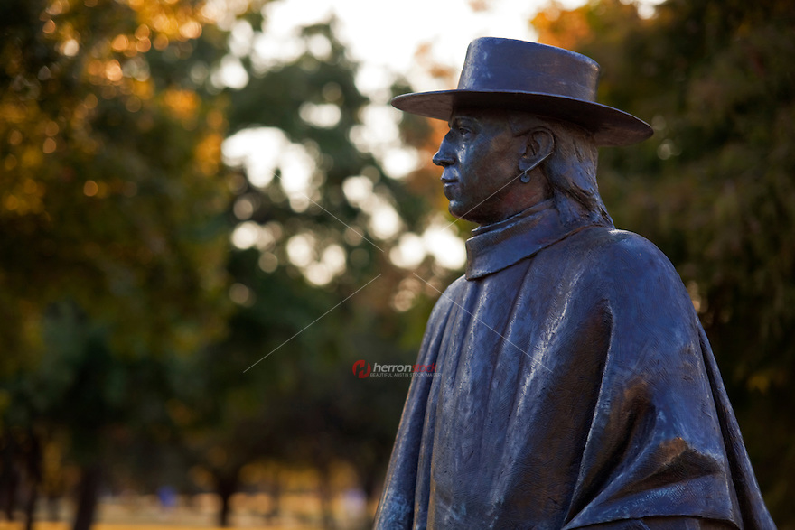 Medium close up of the of Guitar Legend and Stevie Ray Vaughan Statue in Austin, Texas, USA