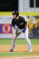 Akron RubberDucks right fielder Mike Papi (38) leads off first base during a game against the Binghamton Rumble Ponies on May 12, 2017 at NYSEG Stadium in Binghamton, New York.  Akron defeated Binghamton 5-1.  (Mike Janes/Four Seam Images)