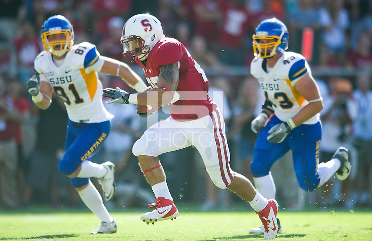 Stanford, Ca-Saturday, Sept. 3, 2010: Tyler Gaffney runs with the ball for a touchdown. Stanford defeated San Jose State 57-3 at Stanford Stadium.