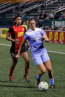 Rochester, NY - Friday July 01, 2016: Chicago Red Stars defender Katie Naughton (5), Western New York Flash forward Jessica McDonald (14) during a regular season National Women's Soccer League (NWSL) match between the Western New York Flash and the Chicago Red Stars at Rochester Rhinos Stadium.