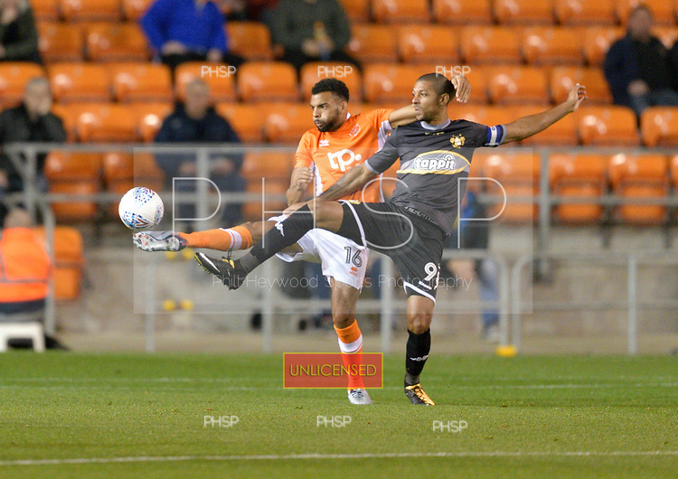 17/10/2017 Sky Bet League 1 Blackpool v Bury<br /> <br /> Curtis Tilt challenges Jermaine Beckford
