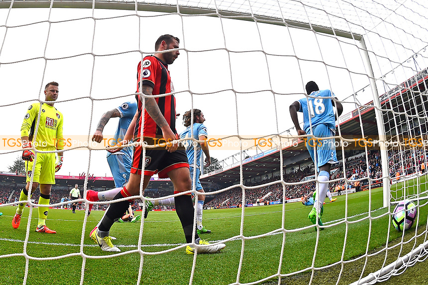 Mame Biram Diouf of Stoke City celebrates his goal as as Steve Cook of AFC Bournemouth picks the ball out of the net during AFC Bournemouth vs Stoke City, Premier League Football at the Vitality Stadium on 6th May 2017