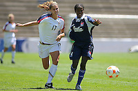 Alex Morgan of USA fights for the ball during CONCACAF U-20 Women's World Cup qualifying tournament in Puebla, Mexico. The USA defeated Cuba, 9-0.