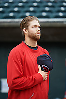 New Hampshire Fisher Cats pitcher T.J. Zeuch (28) during the national anthem before the first game of a doubleheader against the Harrisburg Senators on May 13, 2018 at FNB Field in Harrisburg, Pennsylvania.  Harrisburg defeated New Hampshire 2-1.  (Mike Janes/Four Seam Images)
