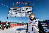 Honorary Musher, Joanne Potts, poses for a portrait during the Restart of the 2016 Iditarod in Willow, Alaska.  March 06, 2016.