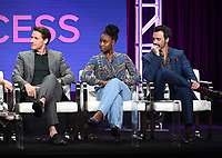 "BEVERLY HILLS - AUGUST 1: Sam Jaeger, Kirby Hoewll-Baptiste, Reid Scott onstage during the ""Why Women Kill"" panel at the CBS All Access portion of the Summer 2019 TCA Press Tour at the Beverly Hilton on August 1, 2019 in Los Angeles, California. (Photo by Frank Micelotta/PictureGroup)"