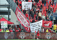 06 October 2012: The Toronto FC fans protest during an MLS game between D.C. United and Toronto FC at BMO Field in Toronto, Ontario..D.C. United won 1-0..