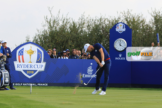 Alex Noren (Team Europe) on the 8th tee during the Friday Foursomes at the Ryder Cup, Le Golf National, Ile-de-France, France. 28/09/2018.<br /> Picture Thos Caffrey / Golffile.ie<br /> <br /> All photo usage must carry mandatory copyright credit (© Golffile   Thos Caffrey)