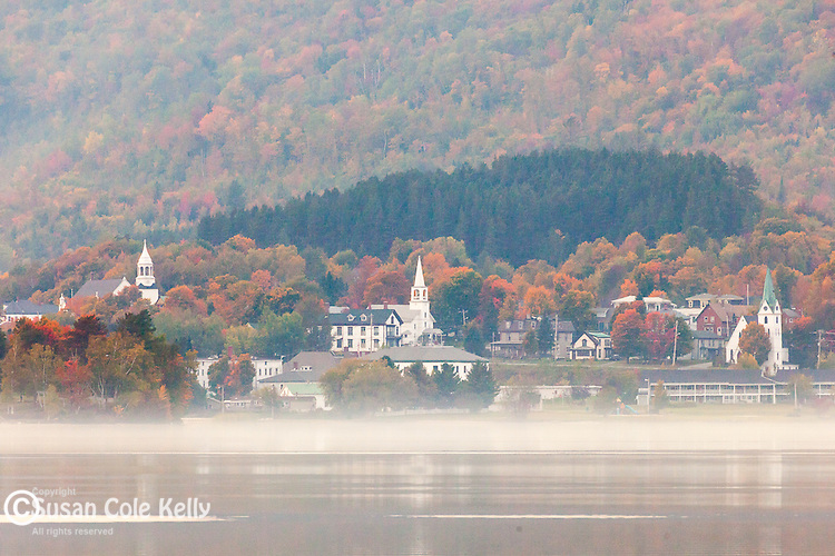 FOGGY VIEW of beautiful Island Pond, VT, USA