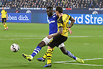 08.12.2018, Veltins-Arena, Gelsenkirchen, GER, 1. FBL, FC Schalke 04 vs. Borussia Dortmund, DFL regulations prohibit any use of photographs as image sequences and/or quasi-video<br /> <br /> im Bild v. li. im Zweikampf Salif Sane (#26, FC Schalke 04) Paco Alcacer (#9, Borussia Dortmund) <br /> <br /> Foto © nordphoto/Mauelshagen
