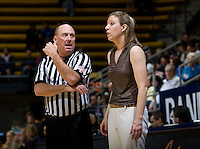 California head coach Lindsay Gottlieb talks with the referee during the game against UCLA at Haas Pavilion in Berkeley, California on January 20th, 2013.   California defeated UCLA, 70-65.