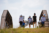 Eun-Hee Ji (KOR) and Gaby Lopez (MEX) make their way across the bridge to the tee on 2 during the round 2 of the Volunteers of America Texas Classic, the Old American Golf Club, The Colony, Texas, USA. 10/4/2019.<br /> Picture: Golffile | Ken Murray<br /> <br /> <br /> All photo usage must carry mandatory copyright credit (© Golffile | Ken Murray)
