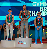 17th March 2019, M&S Arena, Liverpool, England; Gymnastics British Championships day 4;  Men's Artistic Masters Horizontal Bar Final medallists L to R Josh Cook YMCA Barry, FRASER Joe, City of Birmingham Gym Club, Matthew Boardman, Notts Gymnastics Acadamy