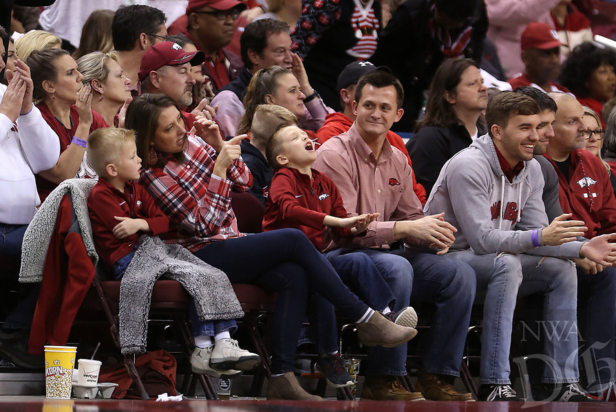 Arkansas Democrat-Gazette/THOMAS METTHE -- 12/16/2018 --<br /> Arkansas fans cheer during the second half of the Razorbacks' 79-67 win on Saturday, Dec. 15, 2018, at Verizon Arena in North Little Rock.