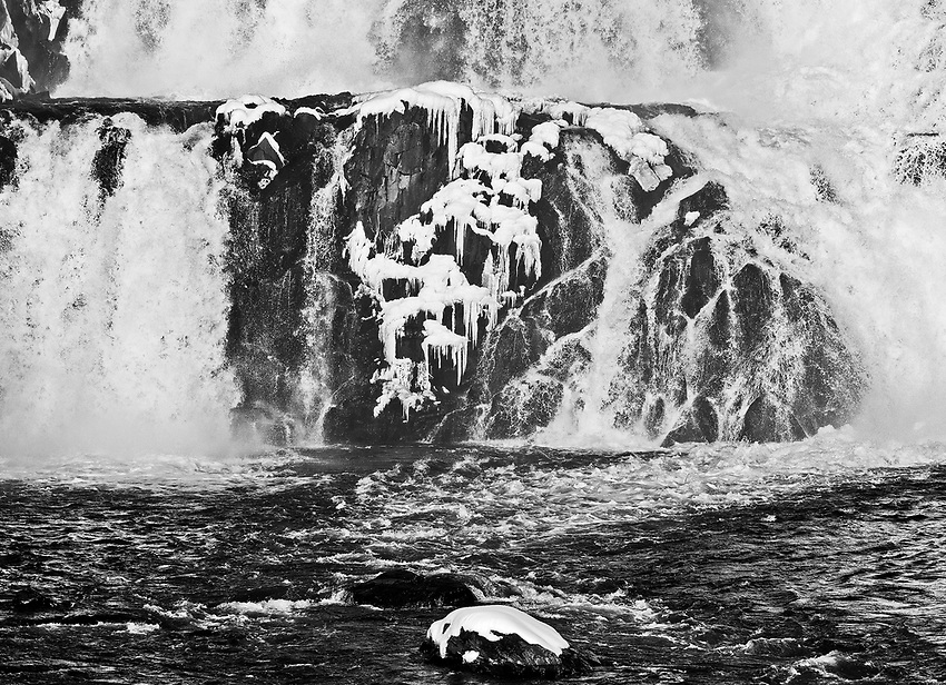 Partially frozen waterfall at the Croton Dam, Croton-on-Hudson, New York