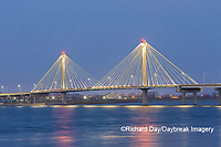 63895-15418 Clark Bridge at night over Mississippi River Alton, IL