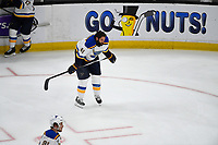 June 6, 2019: St. Louis Blues defenseman Robert Bortuzzo (41) warms up before game 5 of the NHL Stanley Cup Finals between the St Louis Blues and the Boston Bruins held at TD Garden, in Boston, Mass. The Blues defeat the Bruins 2-1 in regulation time. Eric Canha/CSM