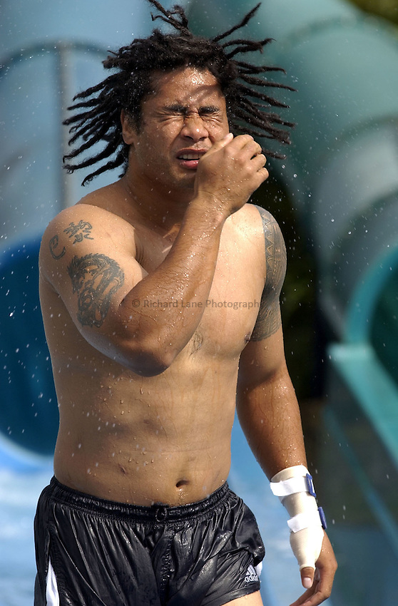 Photo: Richard Lane..Samoan trip to Wet n Wild water theme park on the Gold Coast, Queensland. RWC 2003. 28/10/2003. .Samoan centre, Terry Fanolua.