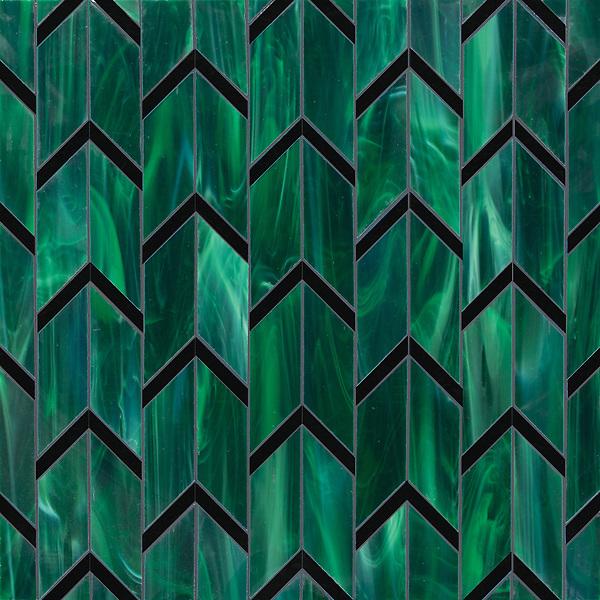 Belen, a waterjet jewel glass mosaic, shown in Cat's Eye and Obsidian.