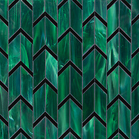 Belen, a waterjet jewel glass mosaic, shown in Cat's Eye and Obsidian, is part of the Bright Young Things™ collection by New Ravenna.