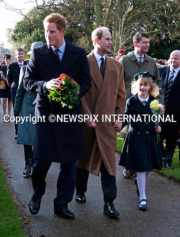 """KATE'S 1ST CHRISTMAS AT SANDRINGHAM.Catherine, Duchess of Cambridge joined members of the Royal Family for her first Christmas at Sandringham, Norfolk..She attended Christmas Day Service together with other members of the Roayal Familt a St. Mary Magdalene Church, Sandringham_25/12/2011.Picture shows: Prince Harry with Prince Edward and daughter Louise.Mandatory Credit Photo: ©NEWSPIX INTERNATIONAL..Please telephone : +441279324672 for usage fees..**ALL FEES PAYABLE TO: """"NEWSPIX INTERNATIONAL""""**..IMMEDIATE CONFIRMATION OF USAGE REQUIRED:.Newspix International, 31 Chinnery Hill, Bishop's Stortford, ENGLAND CM23 3PS.Tel:+441279 324672  ; Fax: +441279656877.Mobile:  07775681153.e-mail: info@newspixinternational.co.uk"""