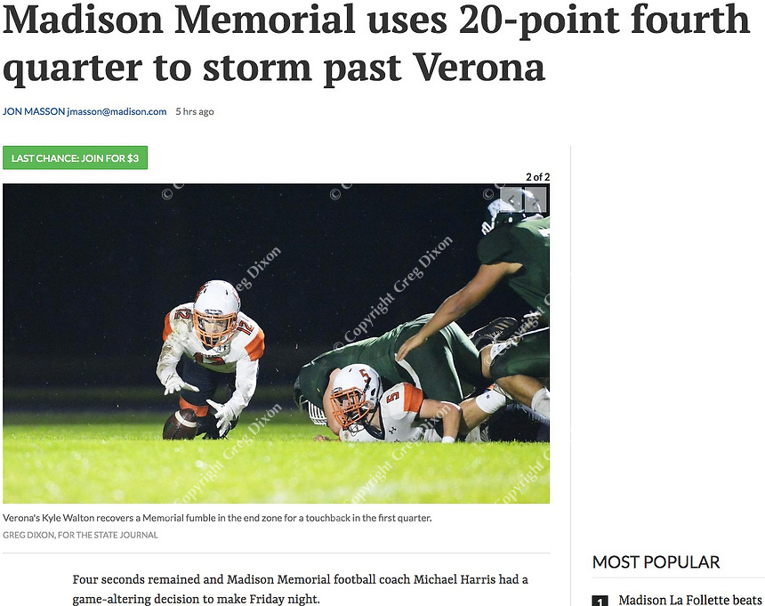 Verona's Kyle Walton recovers a Memorial fumble in the end zone in the first quarter, as Verona takes on Madison Memorial in Big Eight Conference high school football at Mansfield Stadium on Friday, 9/27/19 in Madison, Wisconsin |  Wisconsin State Journal article front page C1 and C6 Sports 9/28/19 and online at https://madison.com/wsj/sports/high-school/football/madison-memorial-uses--point-fourth-quarter-to-storm-past/article_cac1138a-0c39-59cf-b53d-a3e4d045ddf3.html