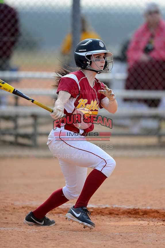 Minnesota Duluth Bulldogs outfielder Michaela Goris (7) during a game against Slippery Rock at Hancock Park on March 18, 2013 in Clermont, Florida.  (Mike Janes/Four Seam Images)