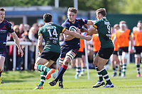 Matt Marley of London Scottish (centre) during the Greene King IPA Championship match between London Scottish Football Club and Nottingham Rugby at Richmond Athletic Ground, Richmond, United Kingdom on 15 April 2017. Photo by David Horn.
