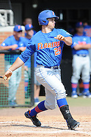 Florida Gators right fielder Preston Tucker #25 swings at a pitch during a game against the Tennessee Volunteers at Lindsey Nelson Stadium, Knoxville, Tennessee April 14, 2012. The Volunteers won the game 5-4  (Tony Farlow/Four Seam Images)..