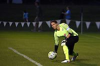 Kansas City, MO - Saturday May 28, 2016: FC Kansas City goalkeeper Nicole Barnhart (18) distributes the ball against the Orlando Pride during a regular season National Women's Soccer League (NWSL) match at Swope Soccer Village.  Kansas City won 2-0.