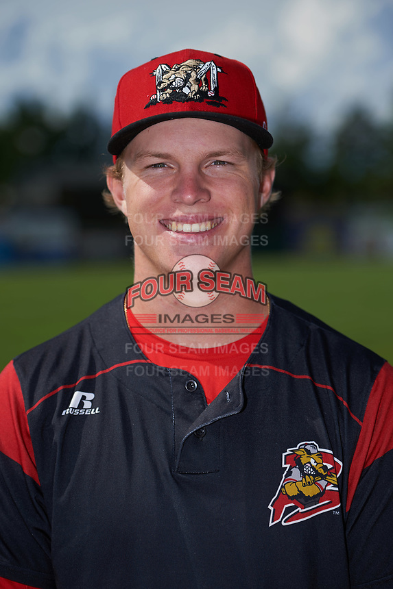 Batavia Muckdogs RJ Peace (25) poses for a photo before a game against the West Virginia Black Bears on June 26, 2017 at Dwyer Stadium in Batavia, New York.  Batavia defeated West Virginia 1-0 in ten innings.  (Mike Janes/Four Seam Images)