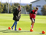 Billy Sharpe takes part in the chip in the middle during the filming of Nicks Kicks for the Nickelodeon channel at the Sheffield Utd training session at the Shirecliffe Training Complex , Sheffield. Picture date: September 29th, 2016. Pic Simon Bellis/Sportimage