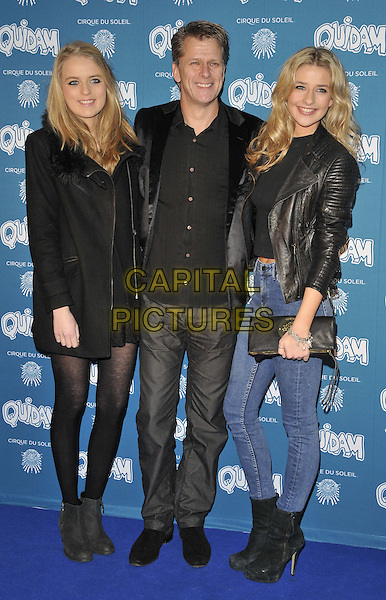 LONDON, ENGLAND - JANUARY 07: Andrew Castle &amp; his daughters Claudia &amp; Georgina attend the &quot;Cirque du Soleil: Quidam&quot; VIP press night, Royal Albert Hall, Kensington Gore, on Tuesday January 07, 2014 in London, England, UK.<br /> CAP/CAN<br /> &copy;Can Nguyen/Capital Pictures