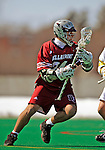 23 March 2008: Bellarmine University Knights' Jamie Floris, a Senior from Niagara on the Lake, Ontario, in action against the University of Vermont Catamounts at Moulton Winder Field, in Burlington, Vermont. The Catamounts defeated the visiting Knights 9-7 at the Vermont home opener...Mandatory Photo Credit: Ed Wolfstein Photo