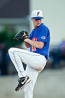 June 12, 2010:    Florida Pitcher Hudson Randall pitches during game two of NCAA Gainesville Super Regional action between the University of Florida Gators and Miami Hurricanes at Alfred A. McKethan Stadium on the campus of University of Florida in Gainesville.   Florida defeated Miami in 10 innings 4-3 to advance to the College World Series in Omaha, Nebraska...........