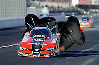 Nov. 9, 2012; Pomona, CA, USA: NHRA funny car driver Cruz Pedregon during qualifying for the Auto Club Finals at at Auto Club Raceway at Pomona. Mandatory Credit: Mark J. Rebilas-