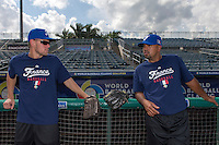 18 September 2012: France Owen Ozanich and Keino Perez rests during Team France practice, at the 2012 World Baseball Classic Qualifier round, in Jupiter, Florida, USA.