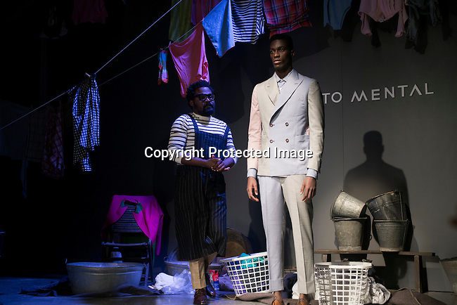 CAPE TOWN, SOUTH AFRICA JULY 3: Models walk for the fashion designer label Projecto Mental during a show at South Africa Menswear week 2015 on July 3, 2015 in Cape Town, South Africa. The second edition of SAMW featured designers from South Africa and around Africa showing spring and summer collections during the 3-day event. Projecto Mental is designed by the duo Tekasala Ma'at Nzinga and Shaunnoz Fiel. (Photo by Per-Anders Pettersson)