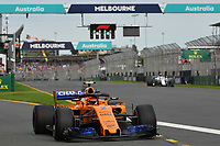 March 24, 2018: Stoffell Vandoorne (BEL) #2 from the McLaren F1 team leaves the pit for his qualifying lap at the 2018 Australian Formula One Grand Prix at Albert Park, Melbourne, Australia. Photo Sydney Low