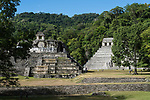 The Palace and the Temple of the Inscriptions in the ruins of the Mayan city of Palenque,  Palenque National Park, Chiapas, Mexico.  A UNESCO World Heritage Site.