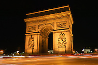 Arc de Triomphe and traffic at night, Paris, France