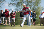 SUGAR GROVE, IL - MAY 31: Max McGreevy of the University of Oklahoma celebrates after making a putt during the Division I Men's Golf Team Championship held at Rich Harvest Farms on May 31, 2017 in Sugar Grove, Illinois. Oklahoma won the team national title. (Photo by Jamie Schwaberow/NCAA Photos via Getty Images)