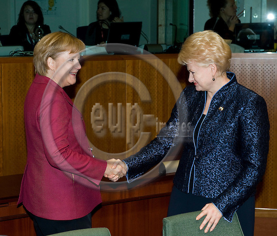 Brussels-Belgium - October 30, 2009 -- European Council, EU-summit under Swedish Presidency; here, Angela MERKEL (le), Federal Chancellor of Germany, shakes hands with Dalia GRYBAUSKAITE (ri), President of Lithuania -- Photo: Horst Wagner / eup-images